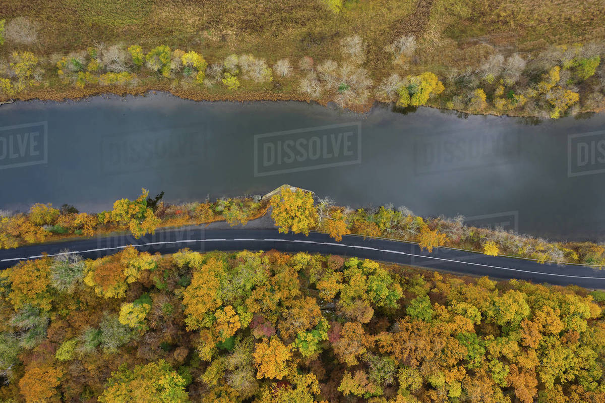 Aerial view of road around a river Royalty-free stock photo