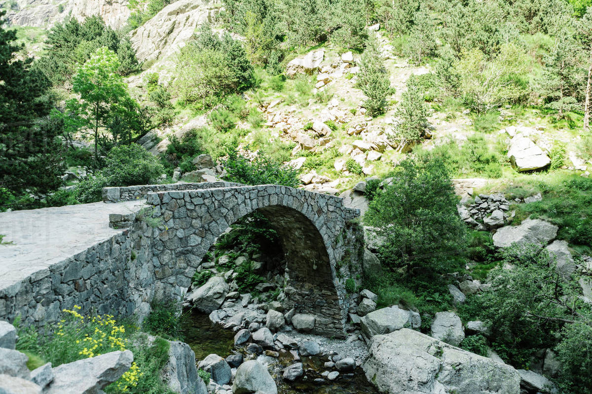 Stone bridge in the middle of a natural landscape Royalty-free stock photo