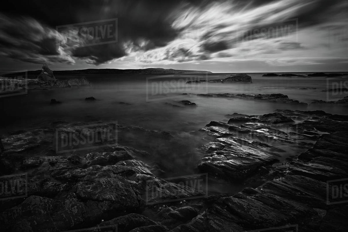 St Ives Bay Long Exposure Dramatic Clouds Royalty-free stock photo