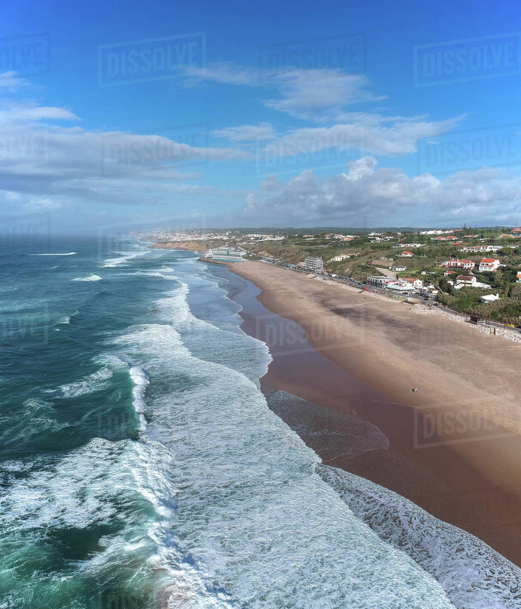 Aerial view of waves on a beautiful sandy ocean beach Royalty-free stock photo