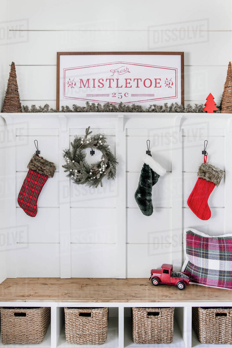 Christmas entryway and home decor Royalty-free stock photo