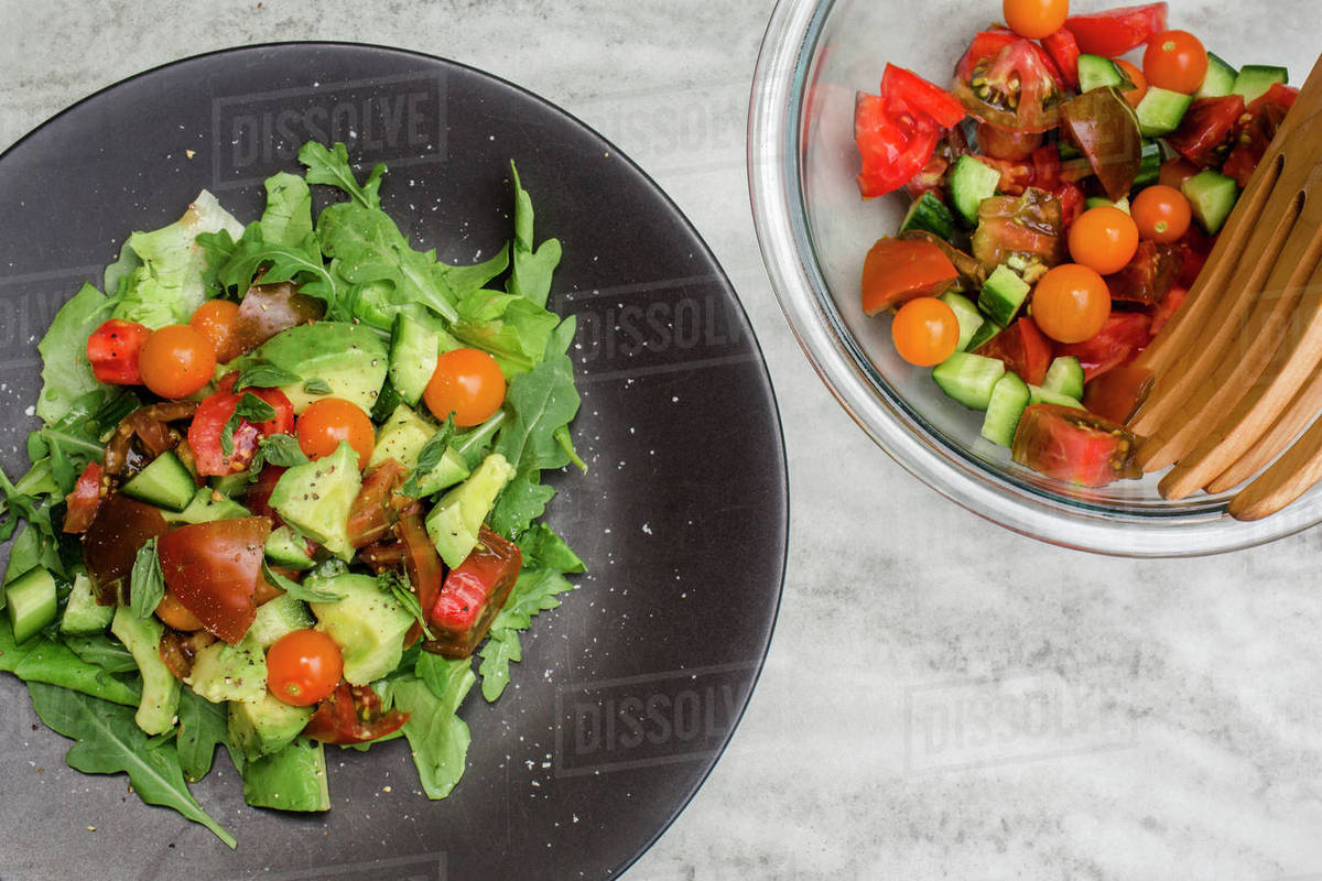 Above-view of plated fresh vegetable salad on table Royalty-free stock photo