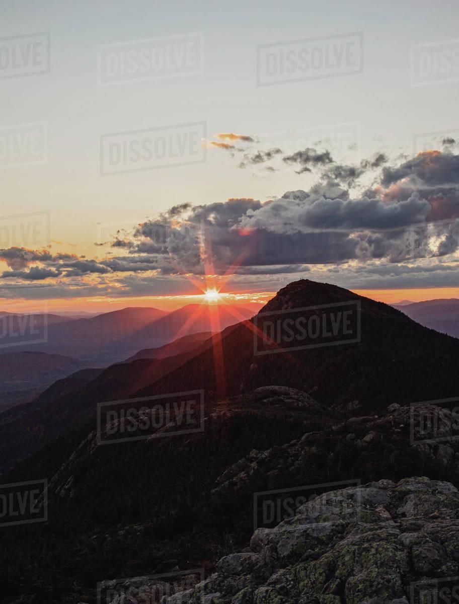 Beautiful sunset over Appalachian Trail on Bigelow Mountain, Maine Royalty-free stock photo