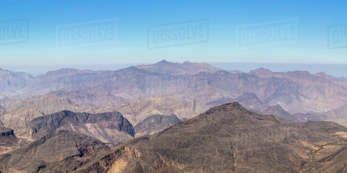 Scenic view of Al Hajar Mountains near Jebel Shams Canyon, Oman Royalty-free stock photo