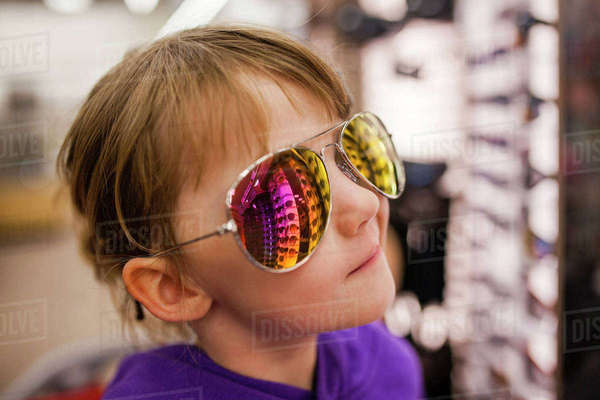 Close-up of girl wearing sunglasses at shop Royalty-free stock photo