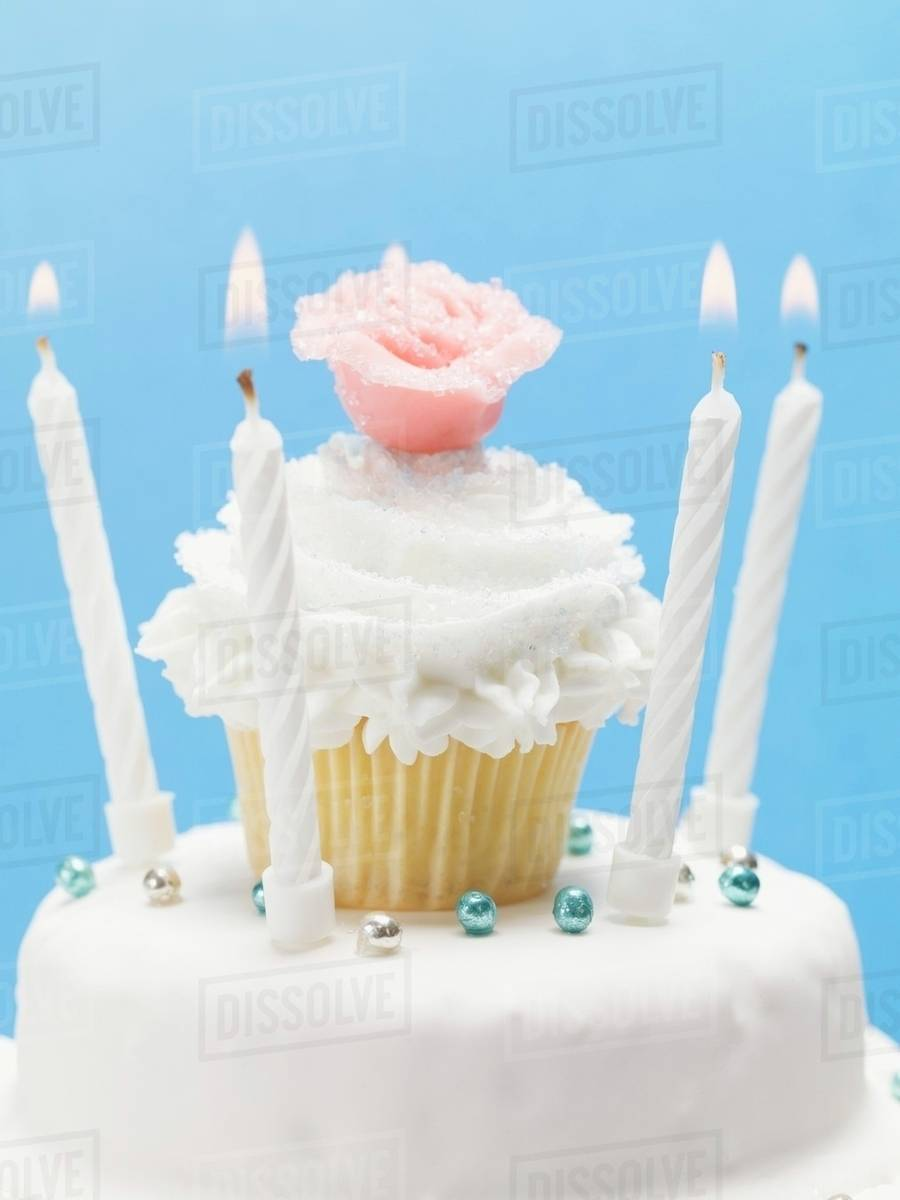 Birthday Cake With Muffin Decoration Marzipan Rose Candles