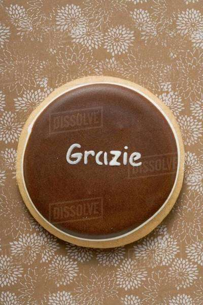 A biscuit with the word 'Grazie' Royalty-free stock photo