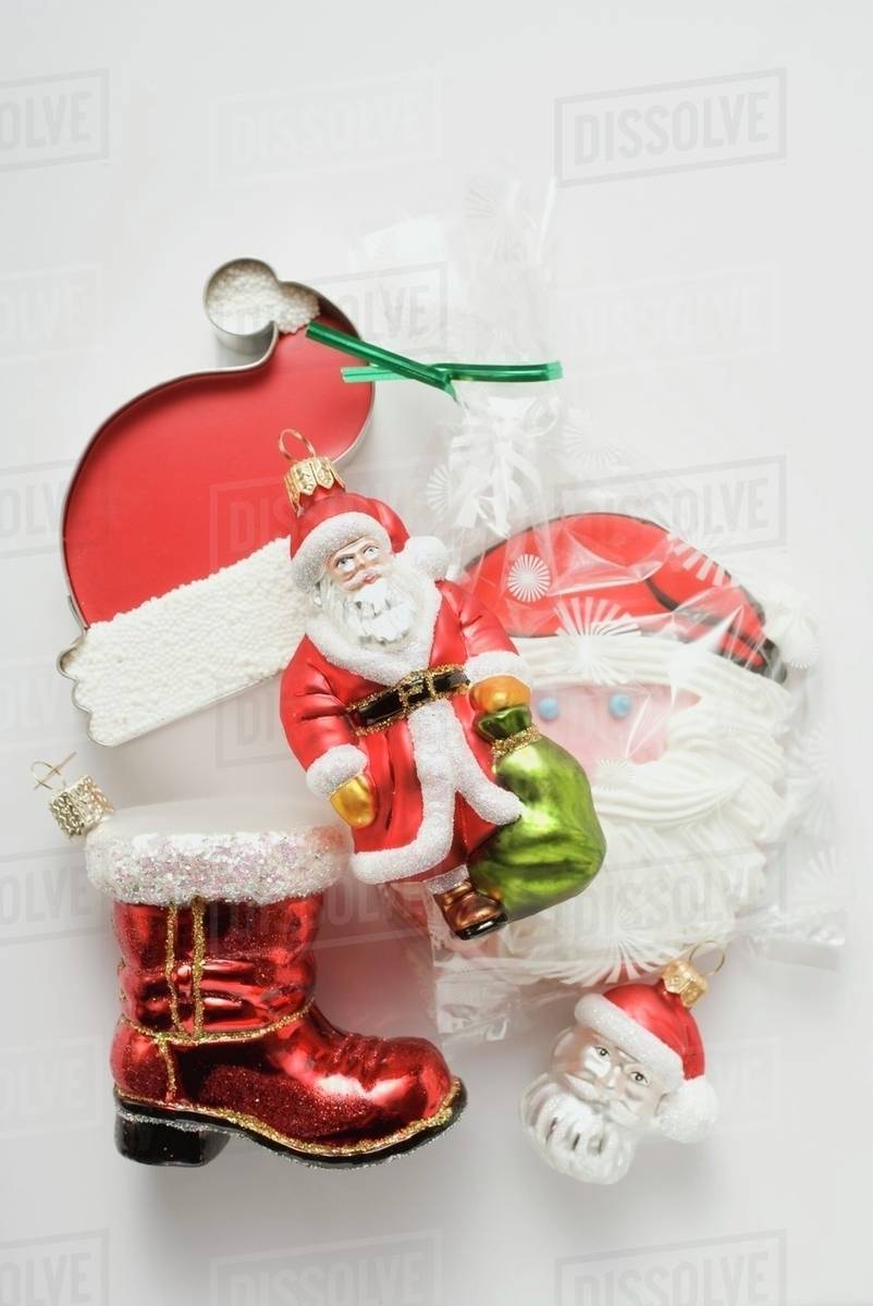Father Christmas Images Free.Sweet Father Christmas Hat Tree Ornaments And Biscuit Stock Photo