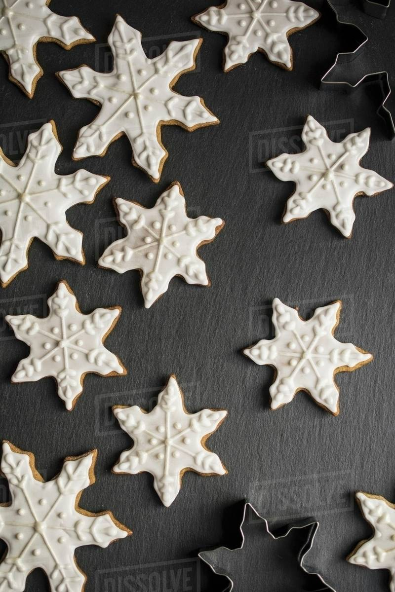 Snowflake Gingerbread Cookies Seen From Above Stock Photo