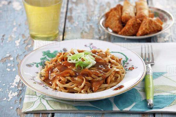Chow mein (noodles with a meat sauce, China) Royalty-free stock photo