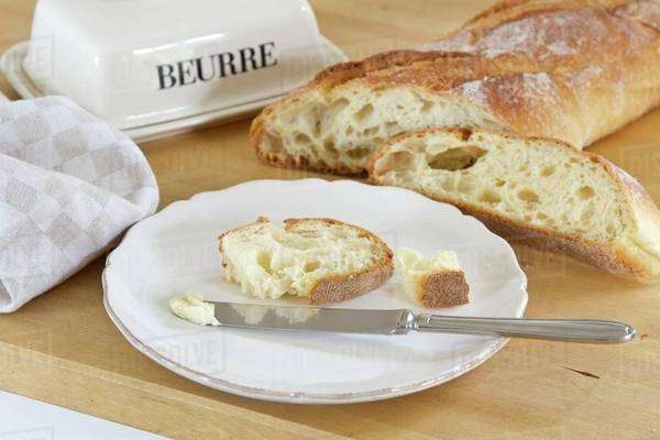Fresh white bread with butter Royalty-free stock photo
