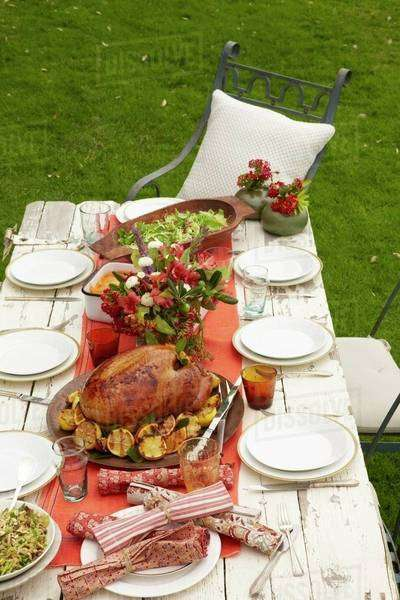 Outdoor Thanksgiving Table Royalty-free stock photo