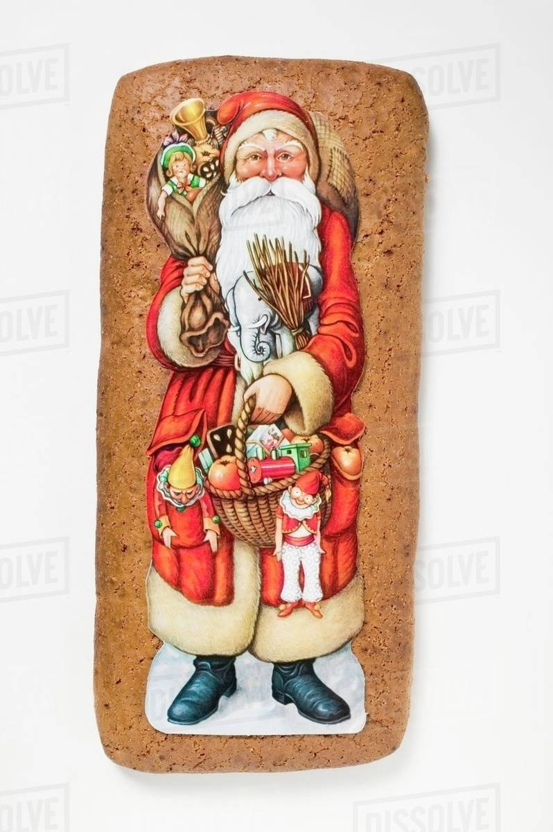 Father Christmas Images Free.Gingerbread With Picture Of Father Christmas Stock Photo
