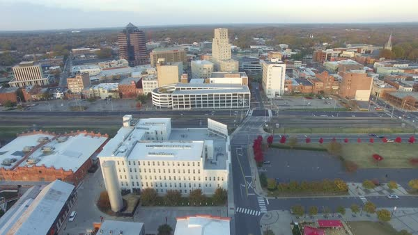 Aerial Shot Slowly Descending On The City Of Durham North Carolina