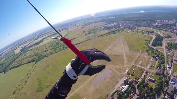 Aerial pov of skydiver parachuting Royalty-free stock video