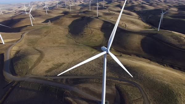 Aerial shot of wind turbines Royalty-free stock video