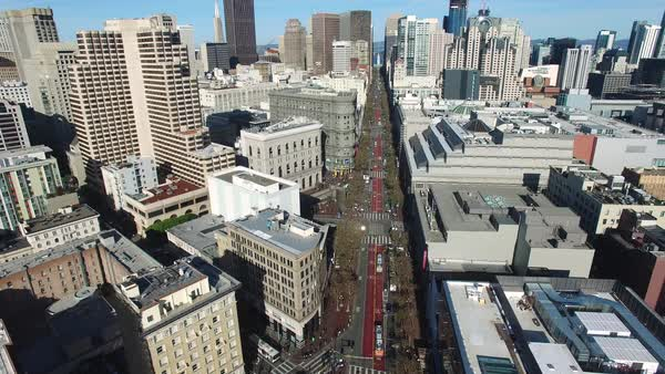 Aerial shot of Market Street in San Francisco Royalty-free stock video