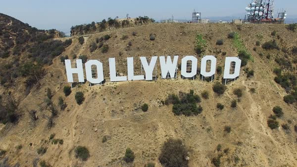 Aerial shot of Hollywood Sign in Los Angeles Royalty-free stock video
