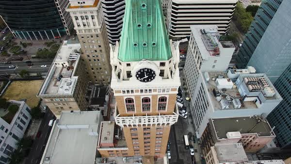 Aerial shot of a clock tower in Oakland Royalty-free stock video