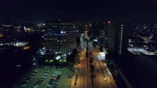 Aerial shot of San Jose cityscape at night Royalty-free stock video