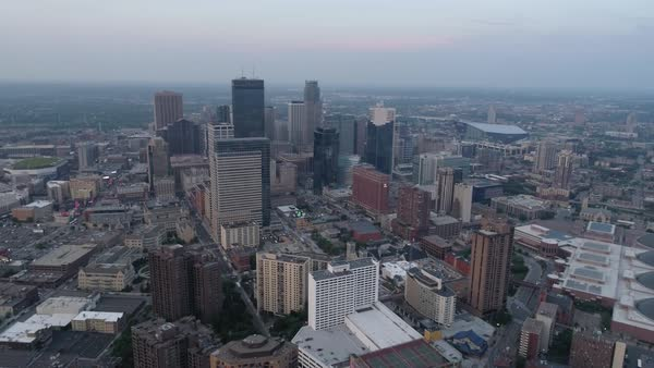 Aerial shot of downtown Minneapolis Royalty-free stock video