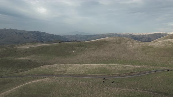 Aerial shot of California countryside with hills Royalty-free stock video