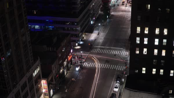 Timelapse of traffic on a street in New York City at night Royalty-free stock video