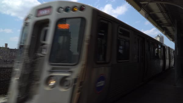 Static shot of a subway train arriving at a station Royalty-free stock video