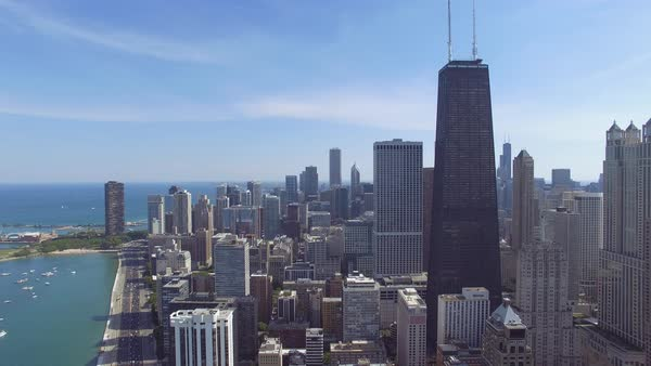 Aerial shot of skyscrapers on shore of Lake Michigan in Chicago Royalty-free stock video