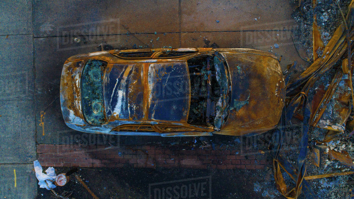 Aerial view of burnt car from the Santa Rosa Fire Royalty-free stock photo