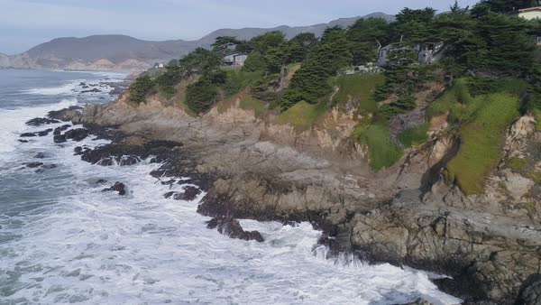 Beautiful view of the rocky coastline near Half Moon Bay Royalty-free stock video