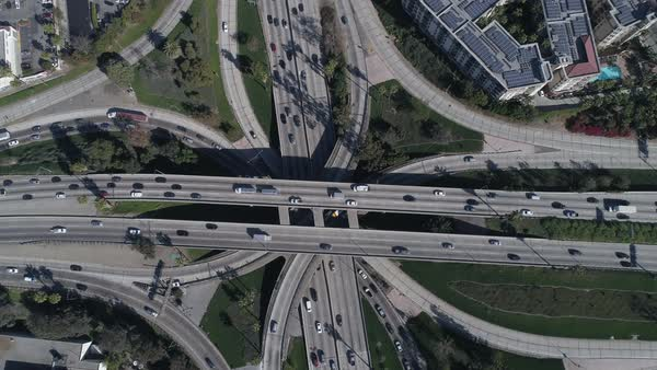Aerial shot of traffic moving on Bill Keene Memorial Interchange in Los Angeles Royalty-free stock video