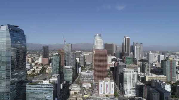 View of Los Angeles skyscrapers with Staples Center in foreground Royalty-free stock video