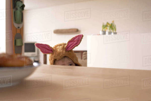 Little boy masquerade as a bunny Rights-managed stock photo