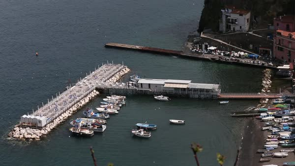 Wide shot of a harbor in Sorrento, Italy Royalty-free stock video