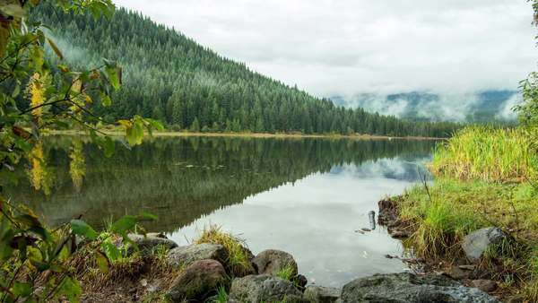Trillium Lake with Mt. Hood behind the Fog with slider motion. Royalty-free stock video