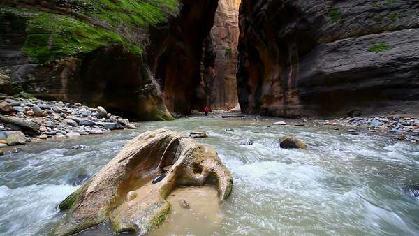 The Zion Narrows at the entrance of Wall Street from the middle of the river. Royalty-free stock video