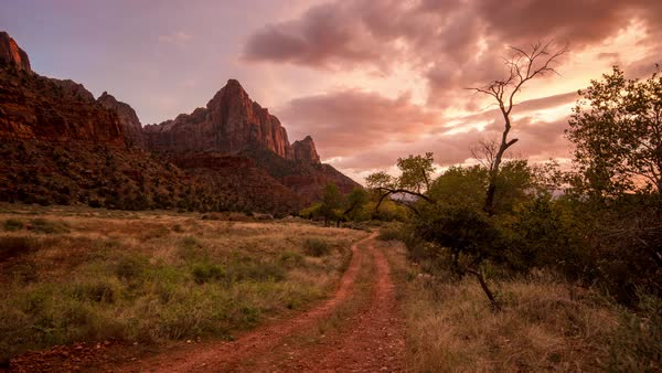 Colorful timelapse at sunset of the countryside in Zion National Park Utah Royalty-free stock video
