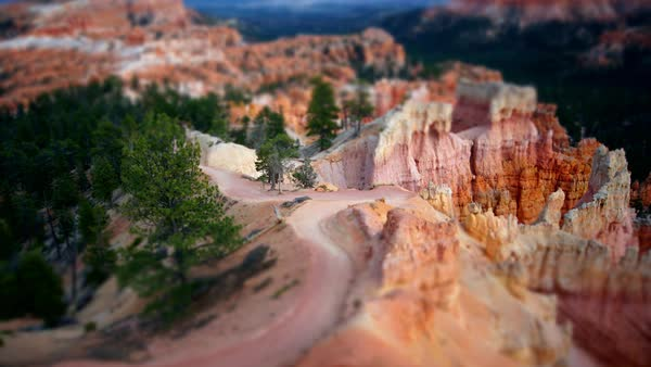 Tilt shift timelapse of people going up a trail in Bryce Canyon Royalty-free stock video