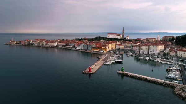 Aerial view over looking the town of Piran Slovenia as dark clouds build up on the horizon. Royalty-free stock video