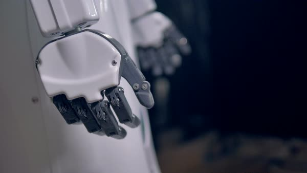 Close-up on robot's hand with fingers bending slightly Royalty-free stock video