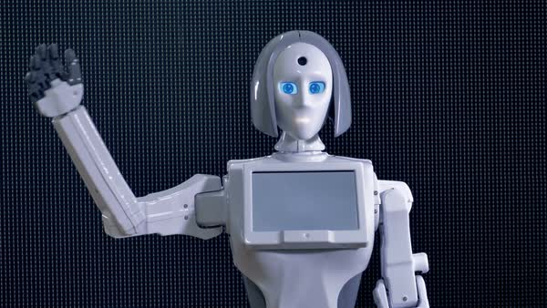 A white plastic robot waving its arm in greeting.  Royalty-free stock video