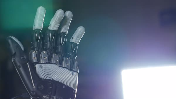 Bionic arm. Innovative robotic hand made on 3D printer. Futuristic technology. Royalty-free stock video