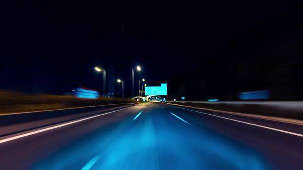 POV night driving hyperlapse at a modern highway passing a series of tunnels Royalty-free stock video
