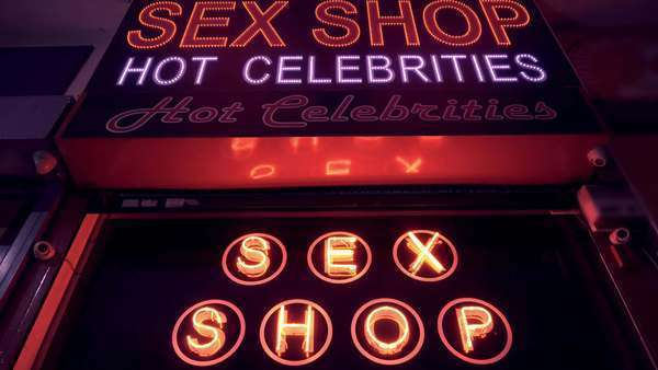 Sex Shop Entrance Glowing Neon Sign Street At Night Royalty Free Stock Video