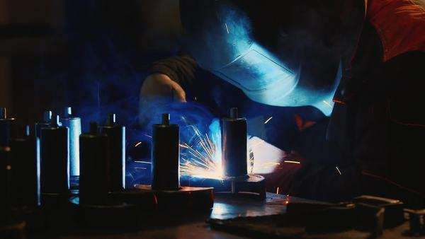 Electric welder at work with lots of hot sparks Royalty-free stock video