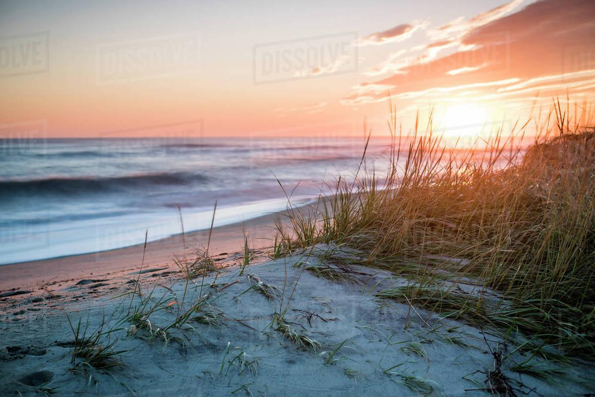 Beach Scenery At Sunset Under Moody Sky Nantucket Machusetts Usa