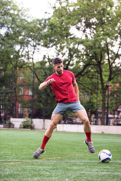 Athlete playing soccer Royalty-free stock photo