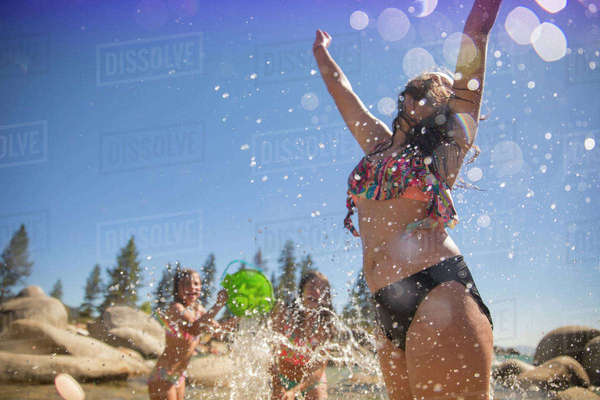 Girls Having Fun At Lake Tahoe, Nevada, Usa Royalty-free stock photo