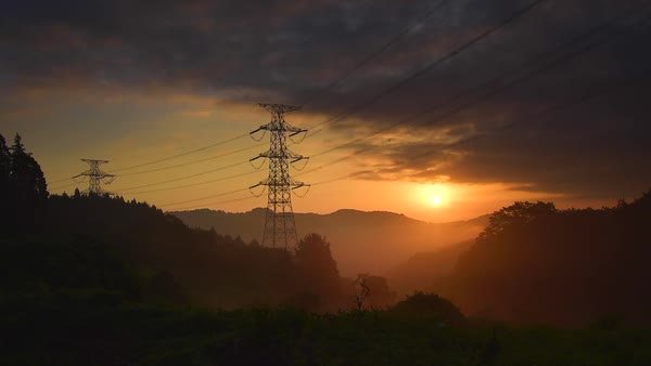 Sunrise and transmission lines, Tochigi Prefecture, Japan Royalty-free stock video